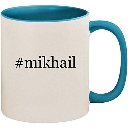 #mikhail - 11oz Ceramic Colored Inside and Handle Coffee Mug Cup, Light Blue (Mikhail Shishkin The Light And The Dark)