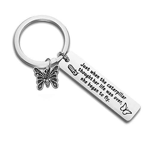 FEELMEM Butterfly Keychain Caterpillar Began to Fly Inspirational Keychain Graduation Gift Best Friend Encouragement Gifts (Silver)