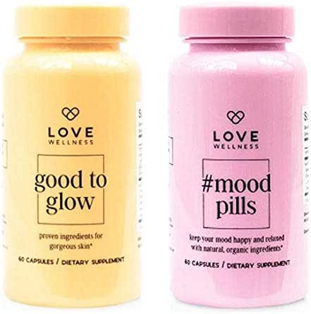 Love Wellness Anti Aging Supplement Set! #Mood Pills and Good to Glow! #Mood Pills Keep Your Mood Happy, Relax & Stress Free! Good to Glow Help Combat Signs of Aging for A Gorgeous Glowing Skin!