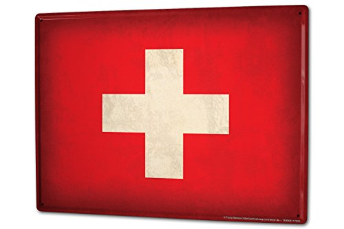 Tin Sign XXL Holiday Travel Agency swiss flag by LEOTIE