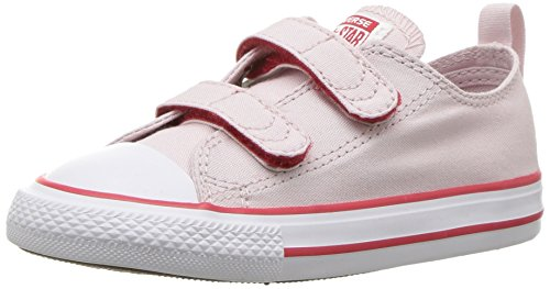 Converse Kids' Chuck Taylor All Star 2V Seasonal Low Top Sneaker, Barely Rose/White/Enamel Red, 4 M US Toddler -
