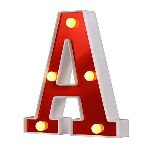 Samapet LED Letter Lights Sign 26 Alphabet Light Up Marquee Letters Sign for Night Light Wedding Birthday Party Battery Powered Christmas Lamp Home Bar Decoration (A)
