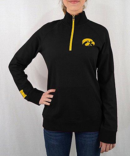 Iowa Hawkeyes Women's Quarter Zip Captain Black - (Iowa Womens Hoody Zip Sweatshirt)