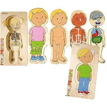 Constructive Playthings Discover Your Body Puzzles Boy and Girl Anatomically Correct; 5 Layered and Measure 11 1/2'' L. x 5 3/4'' Thick for Ages 4 Years and Up by Constructive Playthings