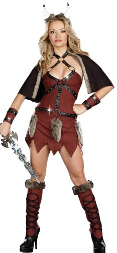 Dreamgirl Viking Warrior Costume, Brown, Small