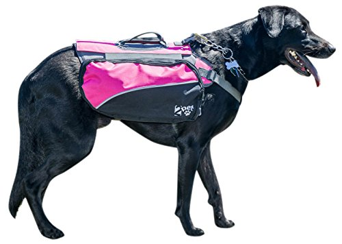 Dog Backpack for Hiking by 2PET Compact Dog Saddlebag for Dogs. Adjustable Harness, Comfortable Fit-Perfect Dog Carrier Backpack with 2 Zipper Pockets & Bottle Holder for Outdoor Activities Large Pink