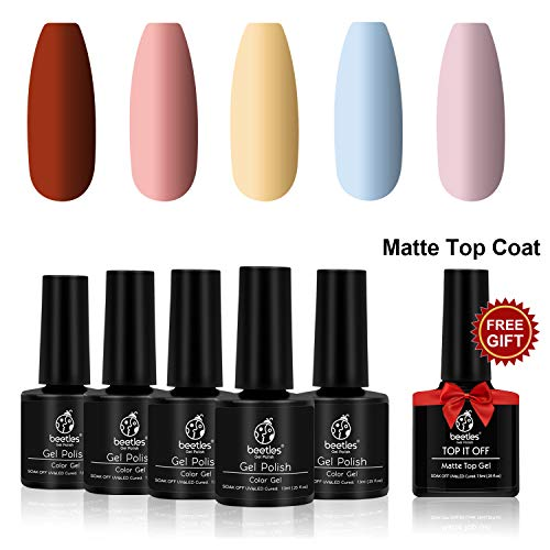 Beetles Matte Gel Nail Polish Set, Pastel Red Yellow Sky Blue Pink Brown Gray with Matte Top Coat Gel Soak Off UV LED Nail Polish Kit (5 Colors Set, 7.3ml Each Bottle)