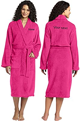 Personalized Plush Microfleece Robe with Embroidered Name & Back, Pink Raspberry