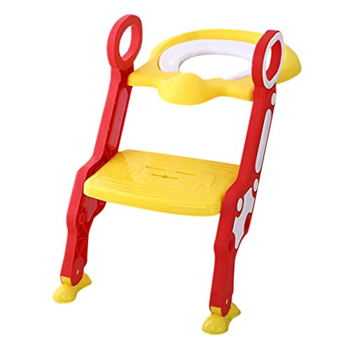 Price comparison product image Baby Toddlers Child Potty Toilet Trainer Seat Ladder,  Toilet Training Seat with Non-Slip Pads Step Stool Ladder (Red)