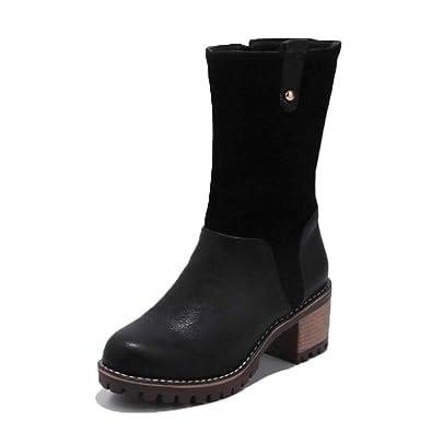 b355d72fb0 T-JULY Women Mid Calf Boots Platform Fashion Round Toe Shoes Women Winter  Warm Concise
