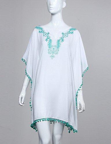 PU&PU Robe Aux femmes Ample Bohème / Street Chic,Couleur Pleine Col en V Au dessus du genou Coton , blue-one-size , blue-one-size