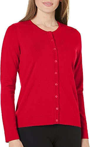August Silk Womens Solid Cardigan Sweater Medium Salsa Red (Silk Salsa)