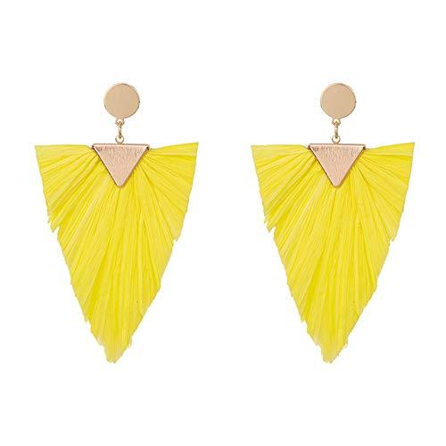 (Statement Earrings Beaded Raffia Palm Bohemian Drop Dangle Earrings for women)