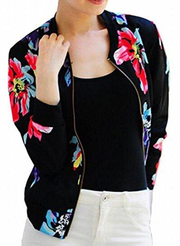 Tropical Print Jacket (Jaycargogo Women Fashion Tropical Floral Print Pockted Bomber Jacket Coat Outwear 2 XL)