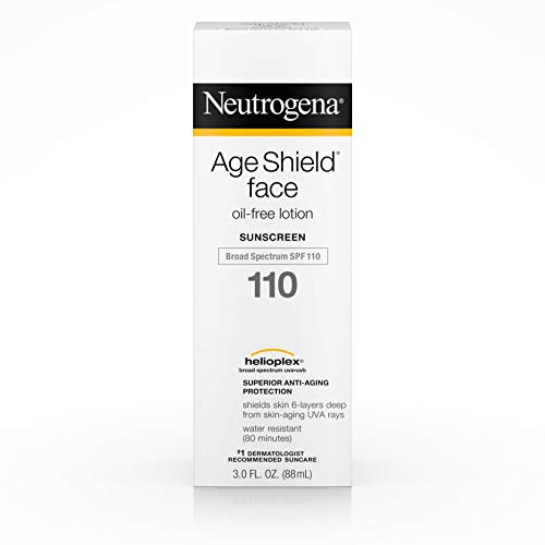 Neutrogena Age Shield Face Lotion Sunscreen with Broad Spectrum SPF 110, Oil-Free & Non-Comedogenic Moisturizing Sunscreen to Prevent Signs of Aging, 3 Fl. Oz (Pack of 1) (Best Sunblock For Face Under Makeup)