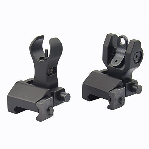 Fyland Flip Up Iron Sights Back Up Battle Front and Rear Sight Set BUIS Black