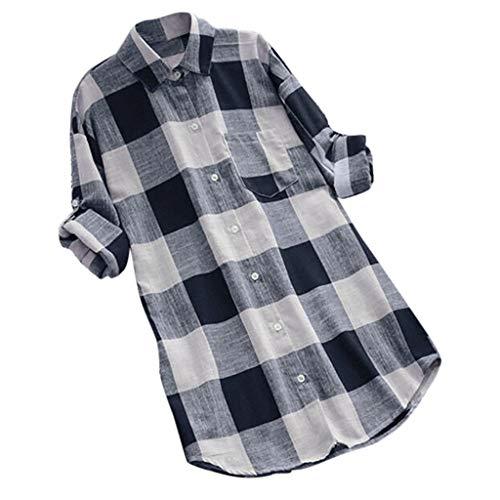 LUCA Womens Vintage Blouse Casual Long Shirt Top T-Shirts Plus Size(Dark Blue 10,XL) ()