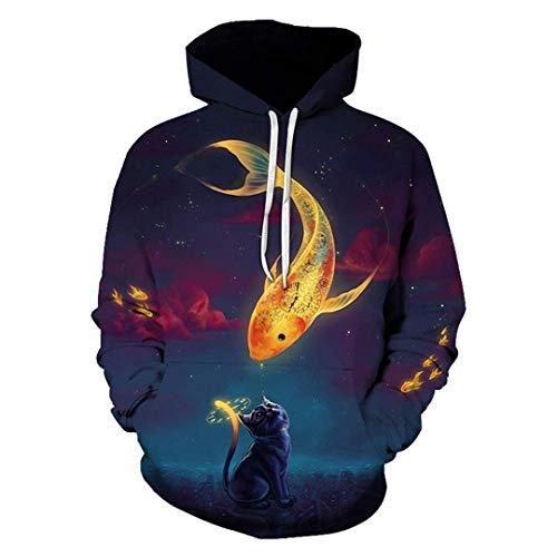 Men Women Casual Funny Cool 3D Print Hoodies Men Printed Carp Fish and Cat Hooded Sweatshirts Outdoor Sport Outwear Tops M