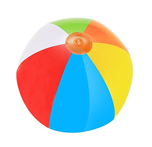 (SNInc. Inflatable Multicolored Beach Balls - Pack Of 12 Rainbow Beach Balls)