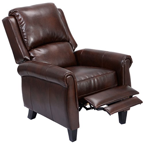 Eight24hours Leather Recliner Accent Chair Push Back Living Room Home Furniture w/ Leg Rests (Rattan Furniture Old)