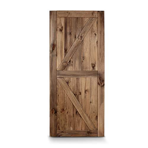 BELLEZE 36″ x 84″ Sliding Barn Door Unfinished Pine Wood Slab DIY Arrow Double Side Single Door, Brown