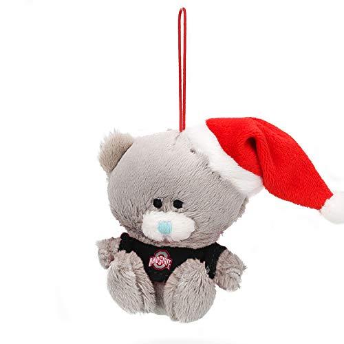 Plushland Qbeba Bear - Stuffed Animal Christmas Ornament Gray Bear with Black Shirt Ohio State University ()