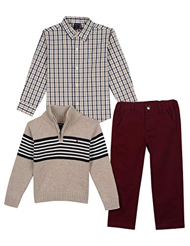 Nautica Little Boys' Three Piece Sweater Set, Beige Oatmeal Heather, 7
