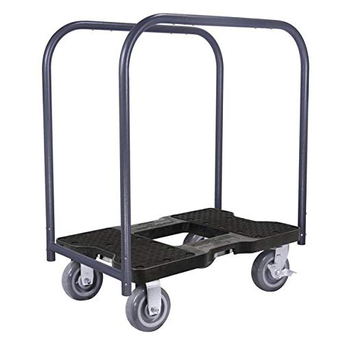 Snap-Loc 1800 Lb Super-Duty Professional E-Track Panel Cart Dolly Black, Safely Moves More In Less Time With Easy Rolling Casters, Removeable Panel Bars, Optional E-Strap Safety Attachment! SL1800PC6B ()