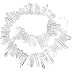 JOVIVI Raw Natural Rock Crystal Quartz Point Beads 15-16 inches Strand Rough Clear Quartz Sticks Pointed 13mm to 38mm