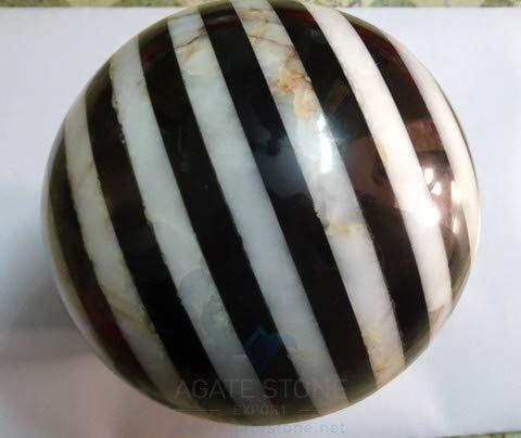 - Spiritual Elementz Reiki Healing White and Black Bonded Gemstone Sphere Ball (40-50mm).