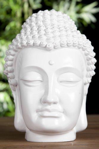 Buddha Kopf Deko.Design Buddha Kopf Highgloss Weiss Skulptur Deko Accessoire