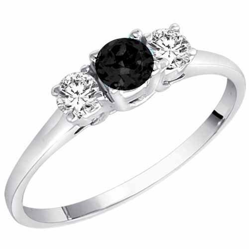 14K White Gold Round 3 Stone Black Diamond & White Diamond Ring (1/2 ctw) – Size 8