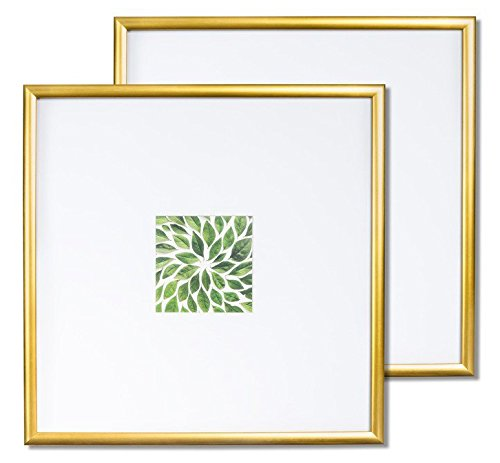 Vista Kayan Picture Photo Frames Set of Two (2) 11 x 11 inch in Gold, Wide Mats w 4 x 4 inch Openings ()