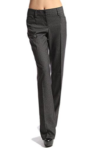 TheMogan Women's Plaid Check Boot Cut Flared Trouser Pants Black 1XL