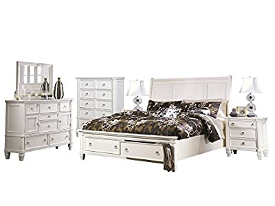 Ashley Prentice 6PC Bedroom Set E King Sleigh Bed Dresser Mirror Two Nightstand Chest in White
