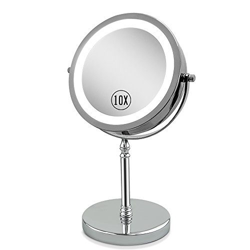 (Lighted Vanity Mirror 1 X & 10 X Magnifying Makeup Mirror with Lights for Shaving in Bathroom 7inch Double Sided with 360° Rotation )