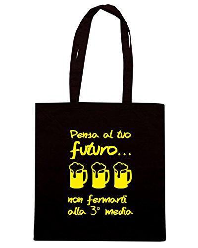 T-Shirtshock - Bolsa para la compra T1040 pensa al tuo futuro bevande sballo Negro