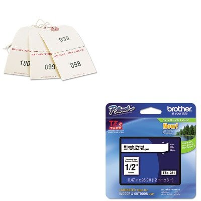 KITAVE18670BRTTZE231 - Value Kit - Avery Extra Large Claim Checks (AVE18670) and Brother TZe Standard Adhesive Laminated Labeling Tape (BRTTZE231)