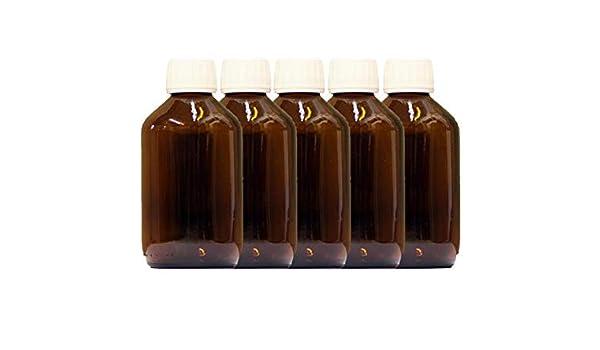 5 x 250ml Botella de vidrio ámbar con PP28st Tapón: Amazon.es: Salud y cuidado personal