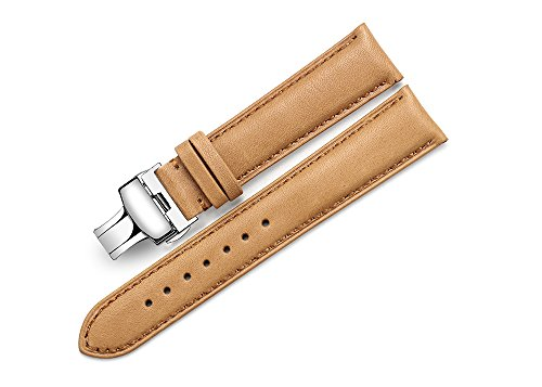 iStrap 18mm Genuine Calf Leather Watch Band Padded Strap Steel Deployment Clasp Super Soft-Brown