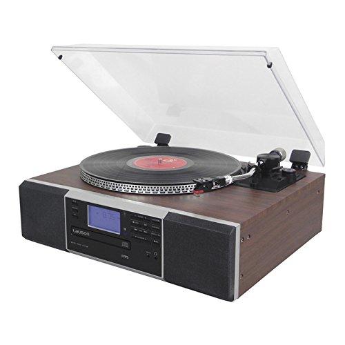 Lauson CL142 - Tocadiscos, 2 (Stereo), bluetooth función encoding, CD, radio FM, USB, mp3 con altavoces frontales incorporados, giradiscos retro, ...
