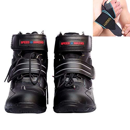 LVNRIDS Motorradstiefel Reiten Rennstiefel Schutzausrüstung Knöchelgelenk Motorradschuhe mit Handgelenkwickel Schwarz