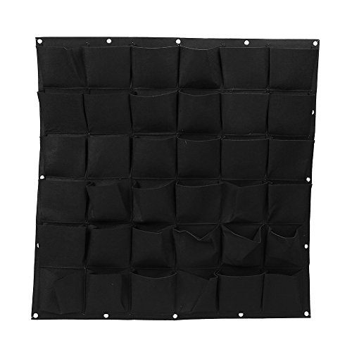 Plant Hanging Bags,36 Pocket Outdoor Vertical Greening Wall Garden Plant Grow Bags for Apartments, Balconies, Patios, Schoolyards and Rooftop (36-Black)