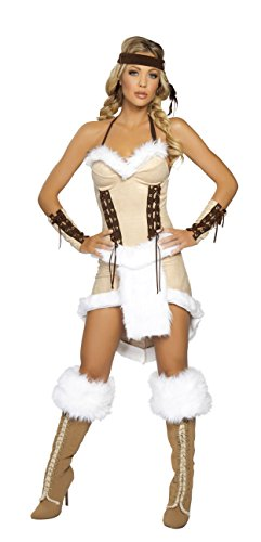 Apache Warrior Costume (3 Piece Indian Princess Fur Dress Costume)
