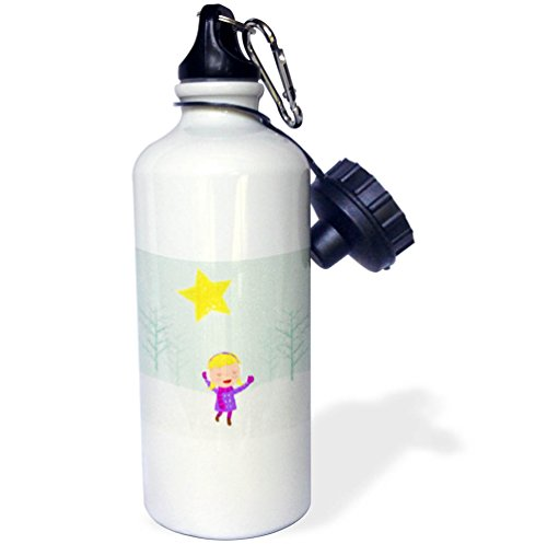 Caroling Snow (3dRose Doreen Erhardt Christmas Collection - Caroling Girl in the Snow Kids Cray Drawing Style in Pink and Purple - 21 oz Sports Water Bottle (wb_266770_1))
