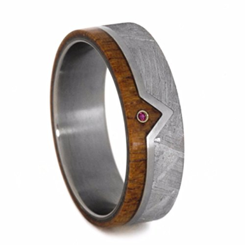 Ruby, Gibeon Meteorite, African Mahogany 7mm Comfort-Fit Matte Titanium Wedding Band, Size 9.75 by The Men's Jewelry Store (Unisex Jewelry)