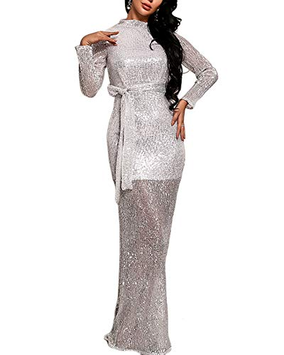 - Ohvera Women's Sequined Long Sleeve High Neck Line Slit Party Cocktail Evening Prom Gown Maxi Long Dress Silver Medium