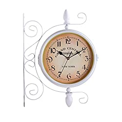 Ysayc Double-Sided Wall Clock - European-Style Iron Arabic Numerals Hotel Living Room Outdoor Garden Retro Decoration Mute Clock, White