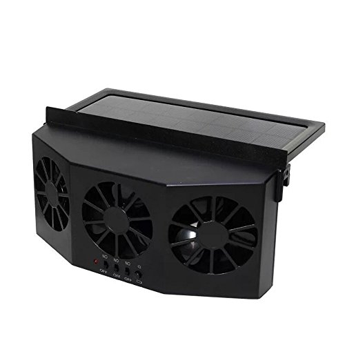 SRAR-BROL Solar Powered Car Window Air Vent Ventilator,With Three-Headed Fan,Clear Smell,Protect Electrical Appliances In The Car,Front/Rear Window Exhaust Fan Vehicle Radiator Vent,Suitable All Cars ()