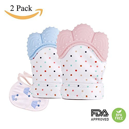 Baby Teething Mitten for Babies Soothing Pain Relief ,Silicone Teething Mitt Teether Gloves BPA Free,massage teether Mitt,teething Toys,infant for 3-12 months (2 pack)